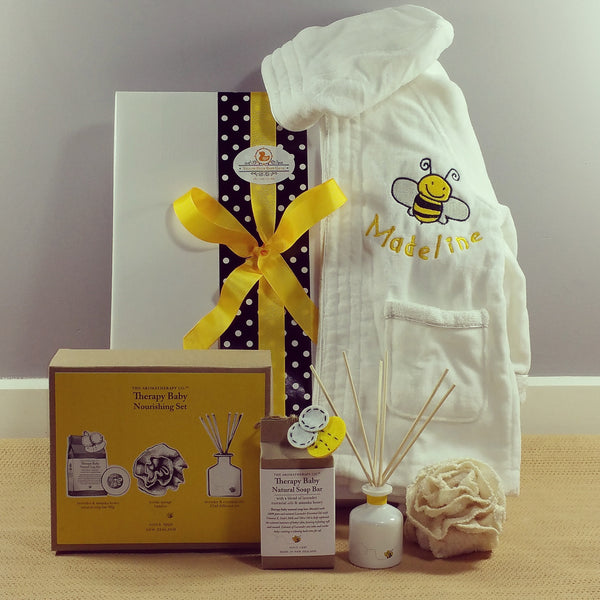 Personalised baby bath robes baby gift hamper