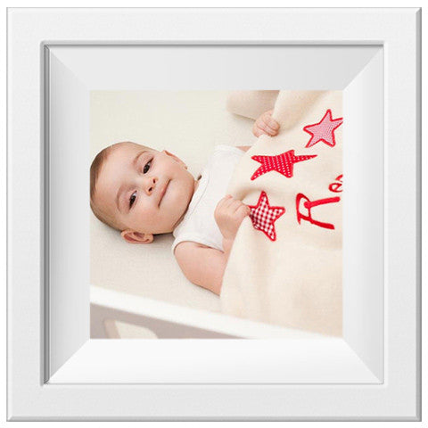 baby sleeping with personalised star design baby blanket