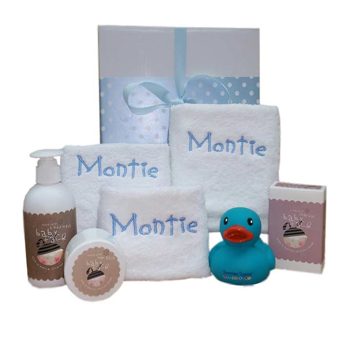baby boy personalised face cloth and bath lotion hamper