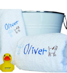 boys personalised bath towel gift hamper