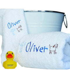 Boy's Cartoon Cutie Personalised Bath Towel Set