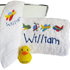 Boy's Planes & Helicopters Personalised Bath Towel Set