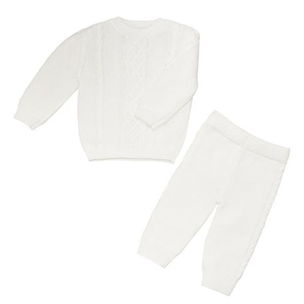 Cable Knitted Baby Suit Set Neutral