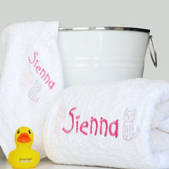 Girl's Cartoon Cutie Personalised Bath Towel Set