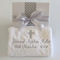 Christening Personalised Baby Bath Towel