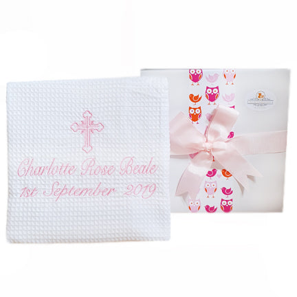 Christening Personalised Blanket Baby Girl