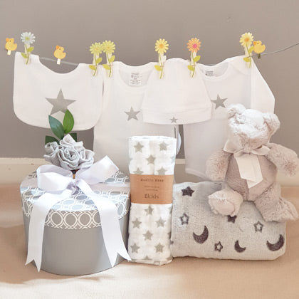 silver star design neutral corporate baby gift hamper