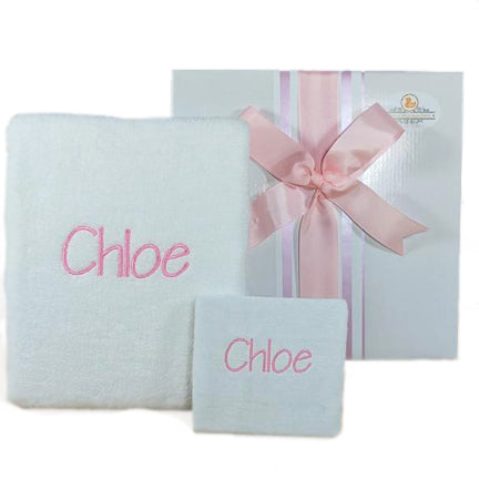 personalised bath towel set for baby girls