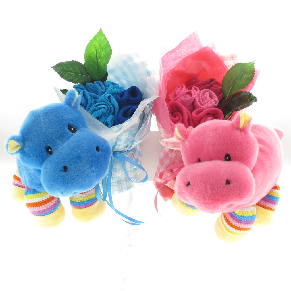 twin baby gift bright hippo toys with matching baby clothing bouquet