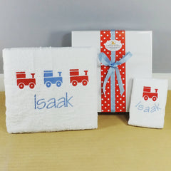 Boys Love Trains Personalised Bath Set