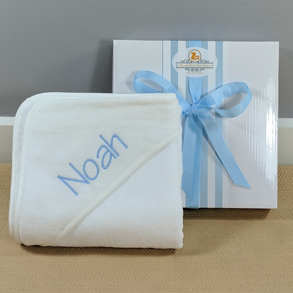 boys personalised hooded baby towel