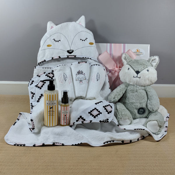Personalised baby gifts yellow duck baby gifts and hampers miss fox baby girl bath hamper negle Image collections