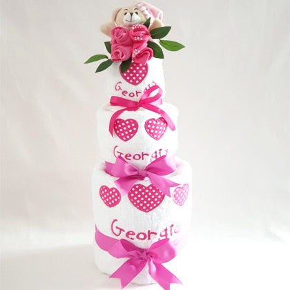 Personalised Baby Girl Heart Towel Nappy Cake