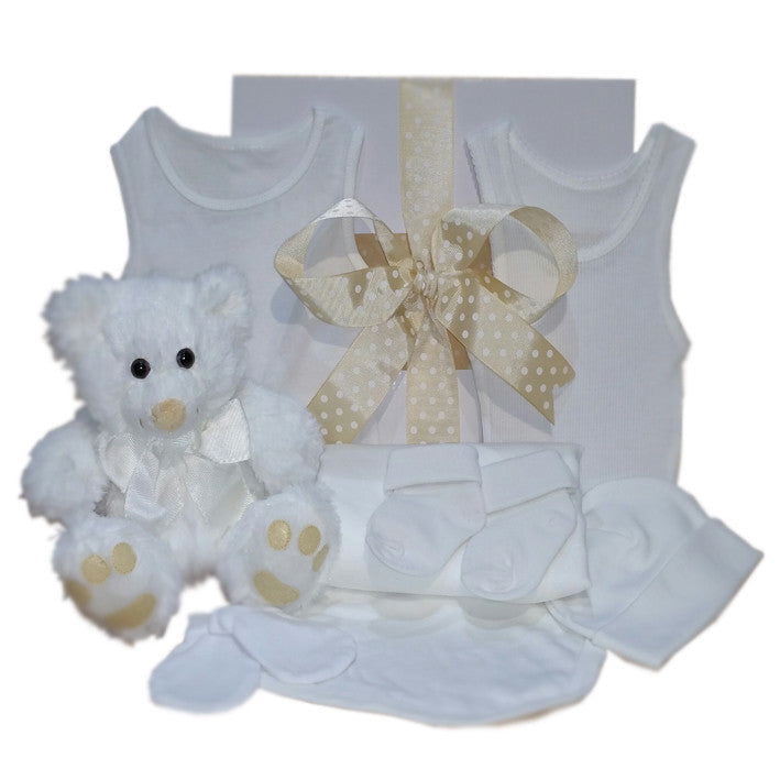 neutral baby gift hamper white teddy bear and white baby clothing gift boxed
