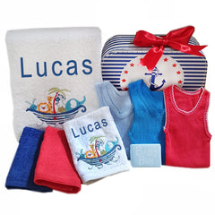 Boys Personalised Bath Towel Set Noahs Ark
