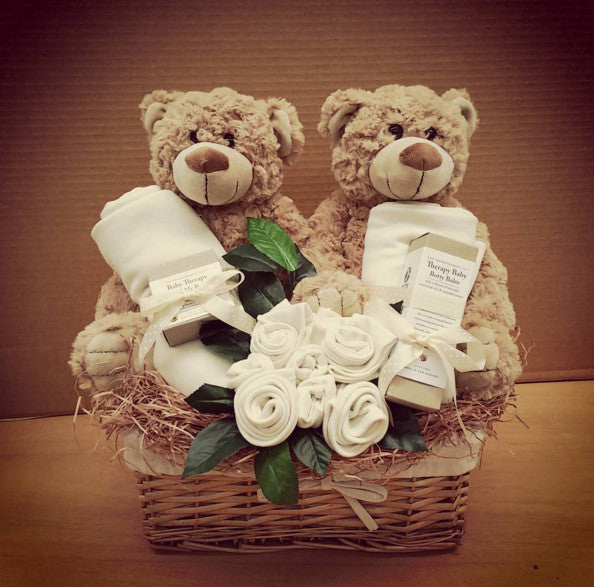 neutral twins baby gift basket teddys, organic baby clothing and lotions