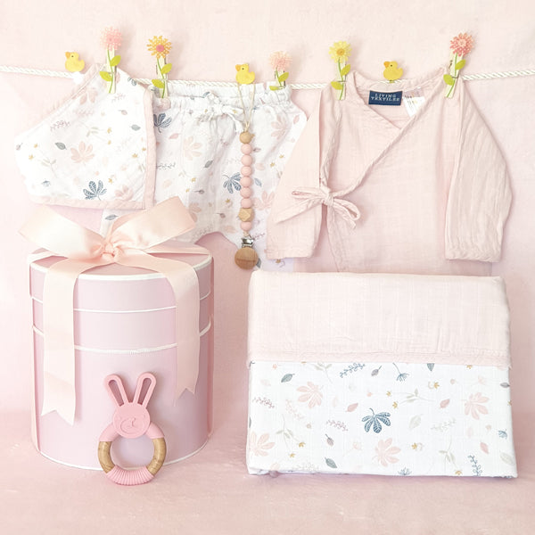 Organic Muslin Cloth Baby Girl Hamper