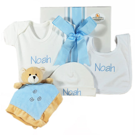 personalised baby boy teddy gift hamper