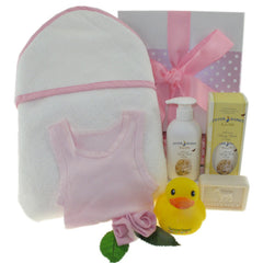 Baby Girl's Hooded Towel Hamper