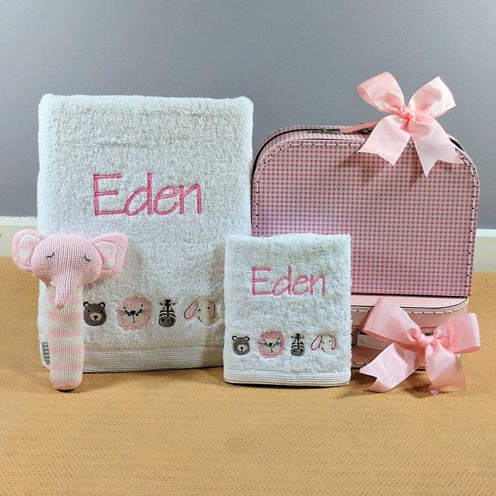 girls personalised safari style bath towel gift box set
