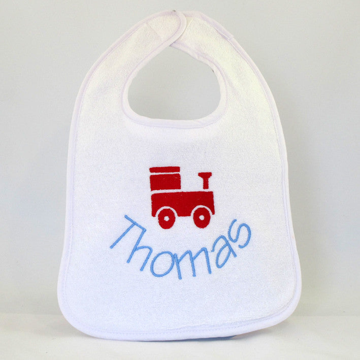 personalised baby bib with train design