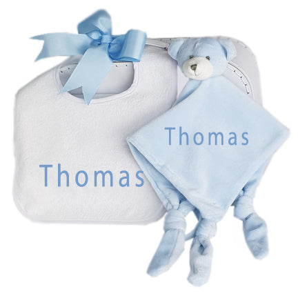 personalised blanky and bib set baby boy