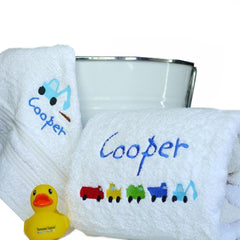 Little Boy's Trucks & Tractors Personalised Bath Towel Set