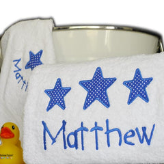 Big Stars for Little Boys Personalised Towel Set