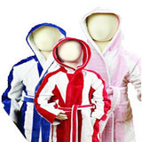 stripey kids beach / bath robes pink, royal blue and red