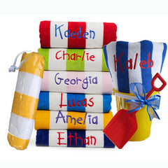 Kids Personalised Beach Towel, Bucket and Spade