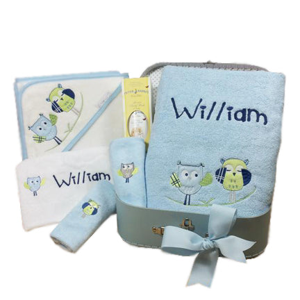 baby boy hamper personalised bath towel set owl design