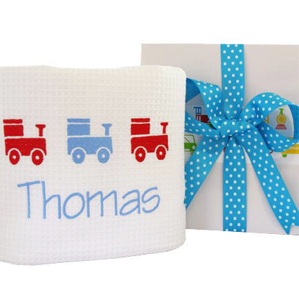 boys personalised train design baby blanket gift boxed