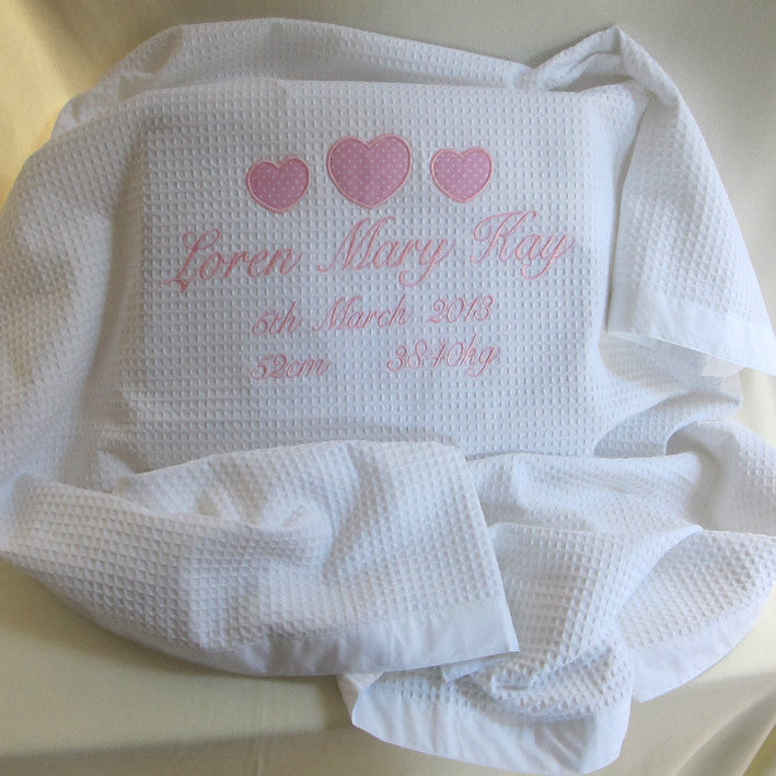girls personalised Christening blanket name and date pink