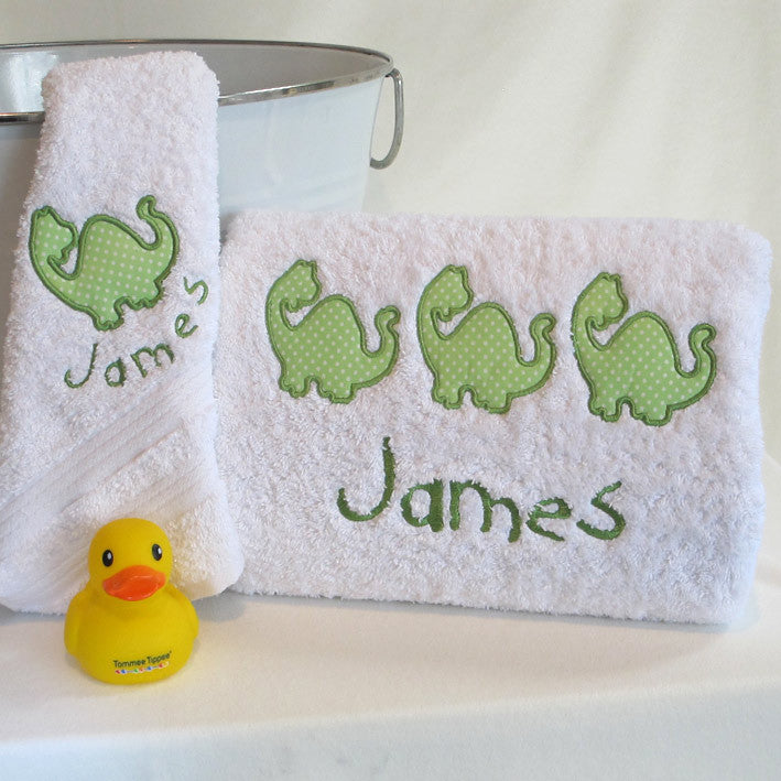 personalised bath towel set dinosaur applique` gift boxed