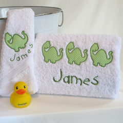 Boy's Dinosaur Personalised Bath Towel Set