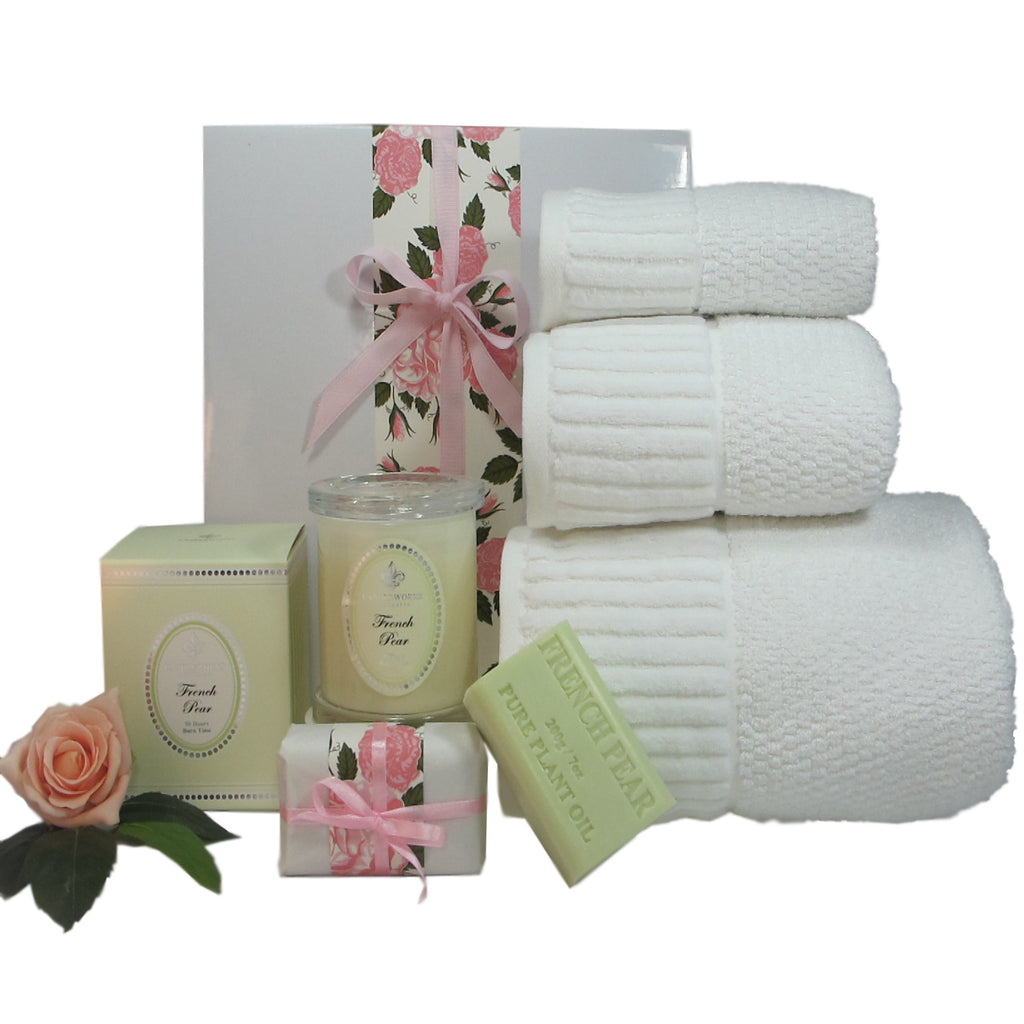 luxury bath towel set for women with scented soy candle and soap