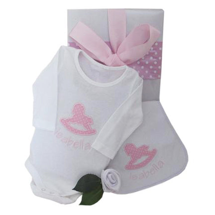 personalised baby girl gift box rocking horse body suit and bib