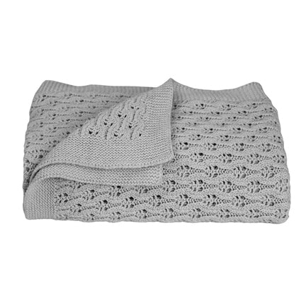 Baby Blanket 100% cotton Knitted Lattice Neutral Grey