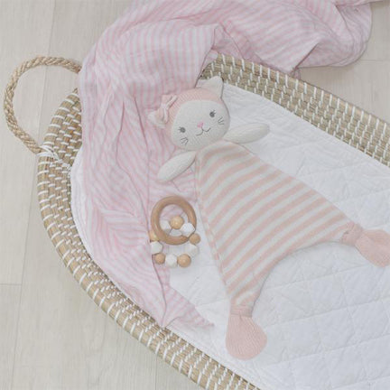 Knitted Baby Security Blanket 100% Cotton Kitten