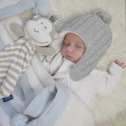 Knitted Baby Security Blanket 100% Cotton Monkey