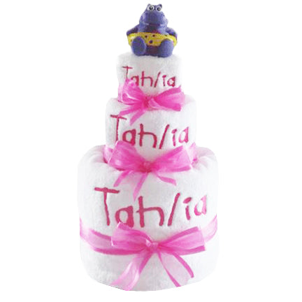 girls personalised bath towel 3 tier nappy cake hot pink