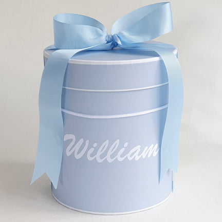 Personalised Baby Gift Box Hat Box Blue