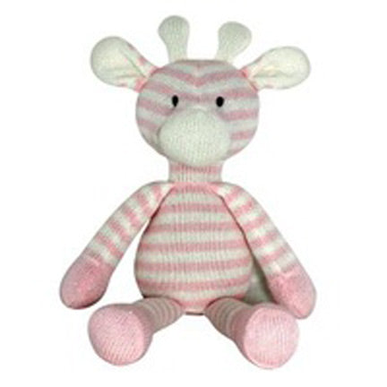 cute knitted giraffe baby toy pink girls