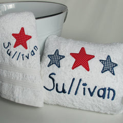 Stars & Stripes Personalised bath towel set