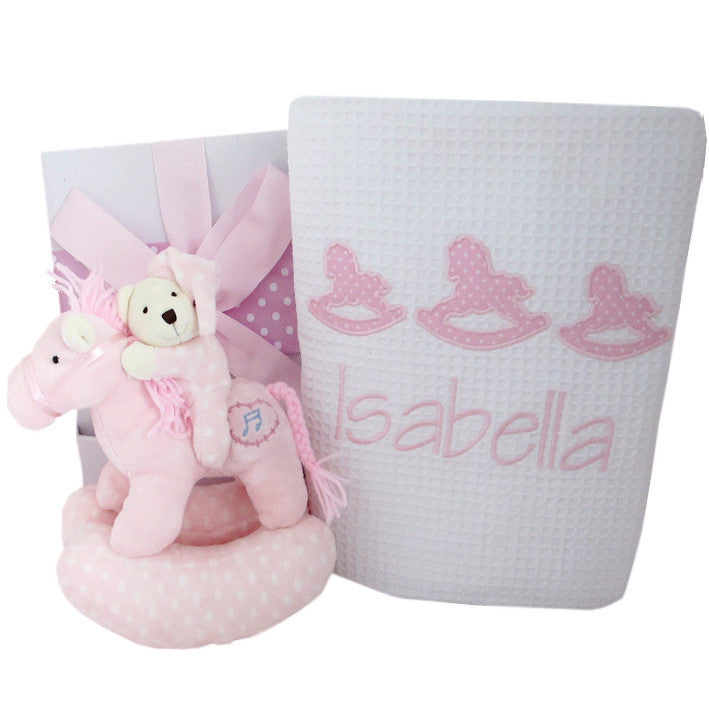 girls personalised baby blanket pink rocking horse design and musical toy