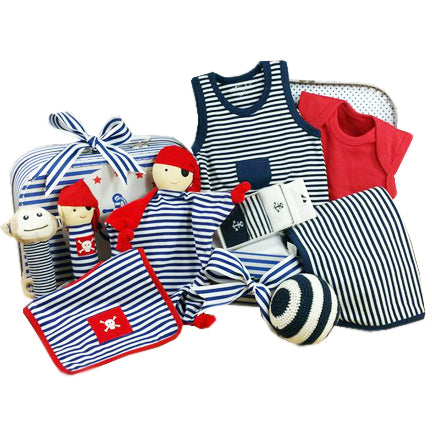 large baby boy gift hamper navy blue striped pirate theme