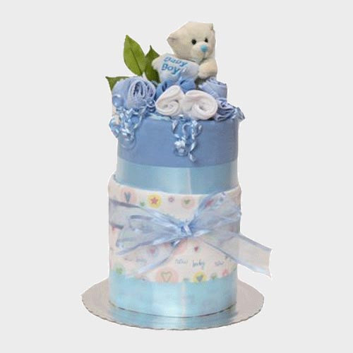 nappy cake baby boy two tiers with teddy