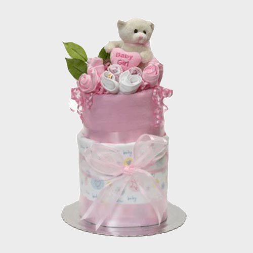 nappy cake for baby girl two tier newborn baby gift