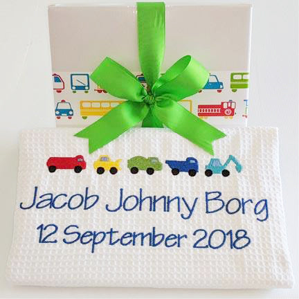 personalised baby blanket with trucks and tractors embroidered design
