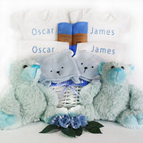 twins personalised baby gift basket blue blue baby boys